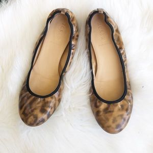 J. Crew Lula cheetah patent leather flats 8.5